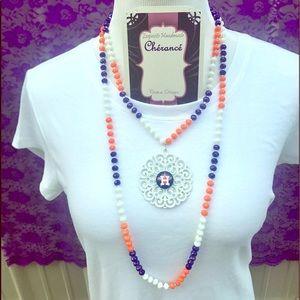 Houston Astros Multi Crystal White Metal Necklace